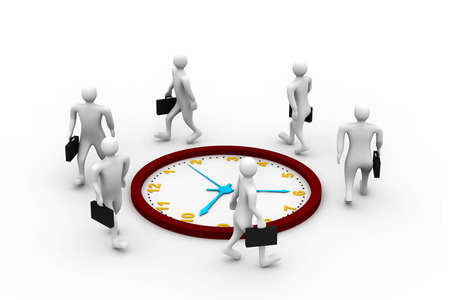 hustle: Group of businesspeople   run and beat for time.