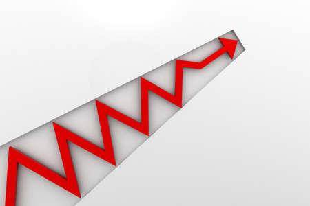 preocupacion: flecha verde en el gráfico de negocios Foto de archivo