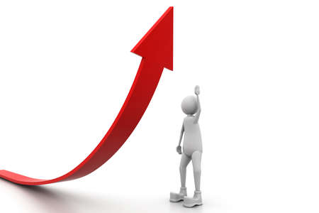 man pointing up: Growing business graph with a man Stock Photo