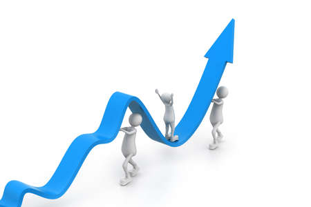 Growing business graph with people