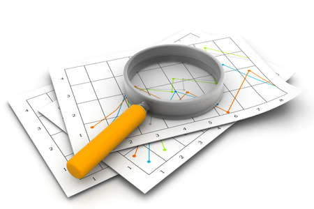 business diagrams and magnify glass photo