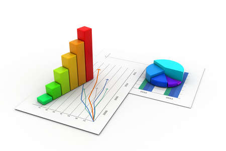 Business graph with chart in white background photo