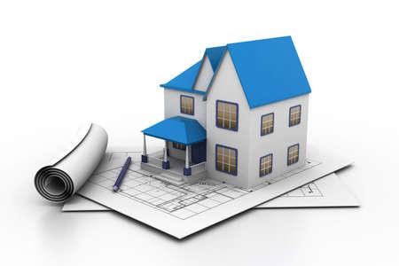 house renovation: House model on a plan