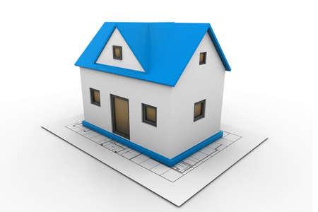 house on a blueprint photo