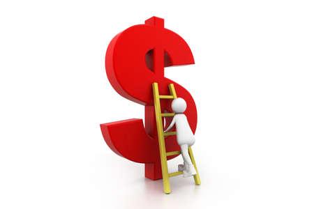 Man Climbing up the dollar symbol Stock Photo - 11197356
