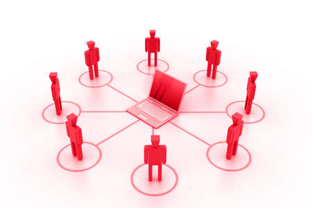 locating: Business network with computer