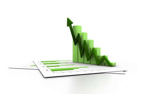 grafica de barras: Negocios gráfico con el gráfico de crecimiento Foto de archivo