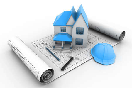 House model on a plan Stock Photo - 11290183
