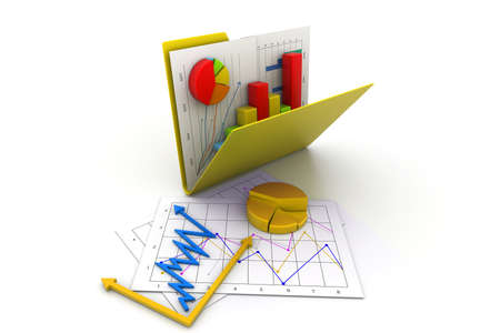 calculation: Folder with business chart and graph