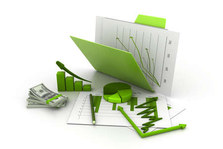 Folder with business chart, graph and money Stock Photo - 11290226