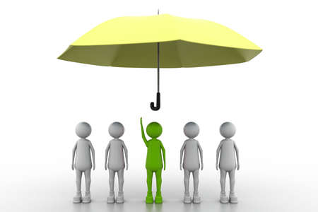wet shirt: team standing with a umbrella in white background Stock Photo
