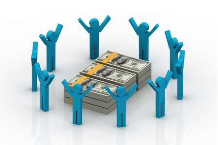 3D people around dollar sign  photo