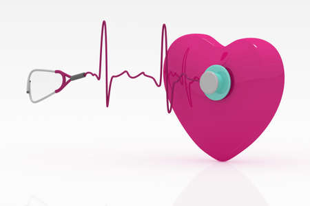 Heart and a stethoscope with heartbeat Stock Photo - 14377528