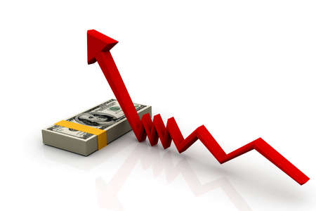 monetary: Finance Growth  dollar and graph Stock Photo