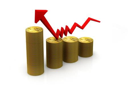 monetary: Finance Growth  gold coin and graph Stock Photo