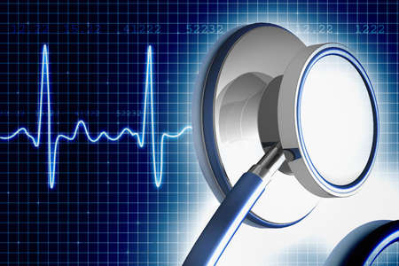 heart monitor: Stethoscope and ECG  Stock Photo