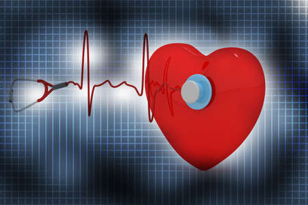 Heart and a stethoscope with heartbeat in abstract background  photo