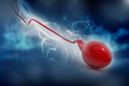 sex cell: 3d illustration of sperm in abstract background   Stock Photo