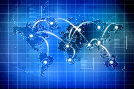 communicatie: Concept van wereldwijde verbindingen Stockfoto