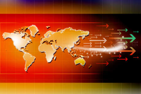 arrows and world map Stock Photo - 14498878
