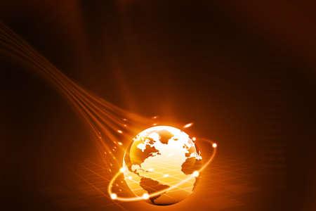 optic fiber: earth with digital fibers Stock Photo