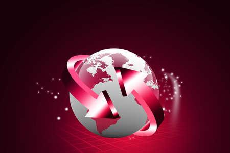 digital globe: Arrows and Earth globe   Stock Photo