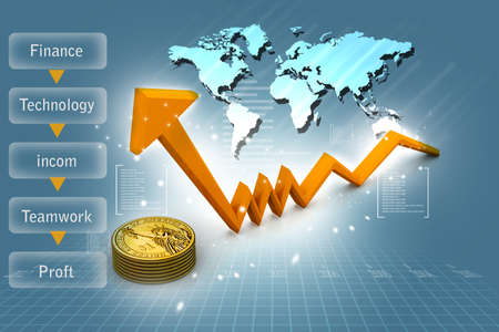 Finance Growth  gold coin and graph  photo