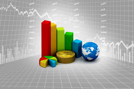 rising graphic: Rising graph with dollar Stock Photo