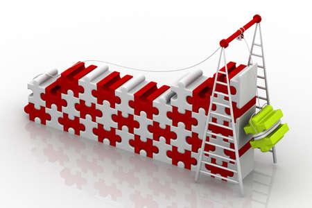 main idea: 3d illustration of Teamwork