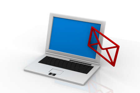 send email envelope in a laptop Stock Photo - 14912349
