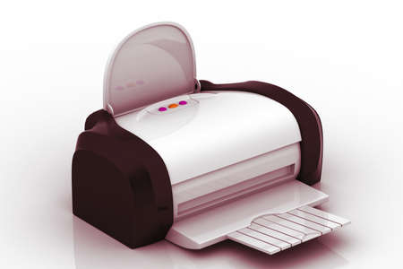 inkjet: The modern inkjet printer on a white background