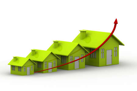 property investment: four houses  every house is greater than the previous Stock Photo