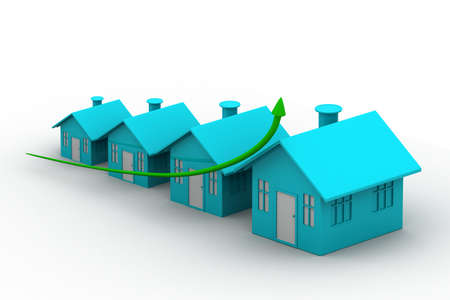 commercial real estate: four houses  every house is greater than the previous Stock Photo