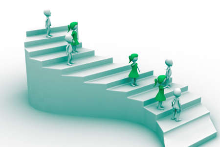 way up: 3d people character running up on stairs Stock Photo
