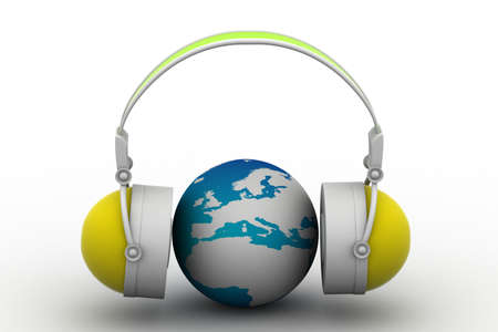 ear phones: Headphone and globe on white background