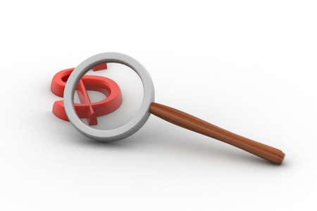 forensic science: Detectives magnifier with dollar