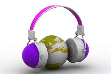 Headphone and globe on white background  photo