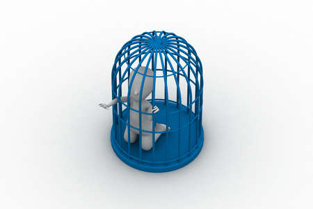 businessman in a 3d bird cage Stock Photo - 14915630