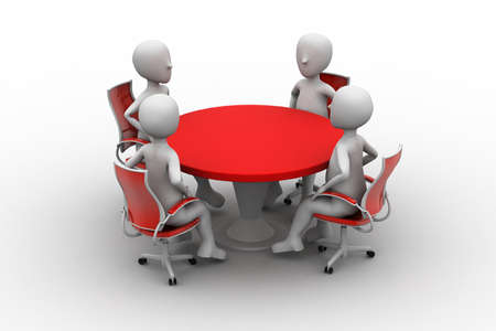 round table conference: 3d person at a conference table