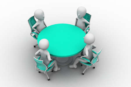 round chairs: 3d person at a conference table
