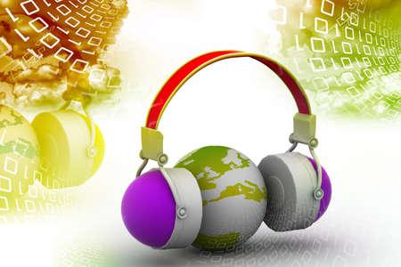 Headphone and globe on digital background photo