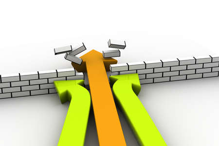 breakthrough: giving up or breaking through obstacles concept illustrated by three arrows Stock Photo