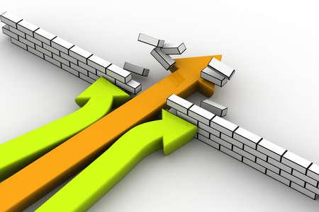 het opgeven of het doorbreken van hindernissen begrip geïllustreerd door drie pijlen Stockfoto