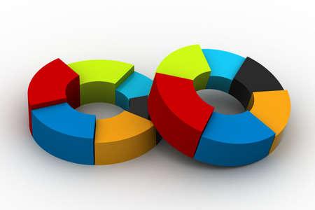 investment concept: A colorful 3d pie chart graph