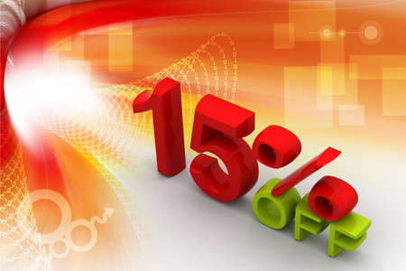 Fifteen percent on digital background  photo