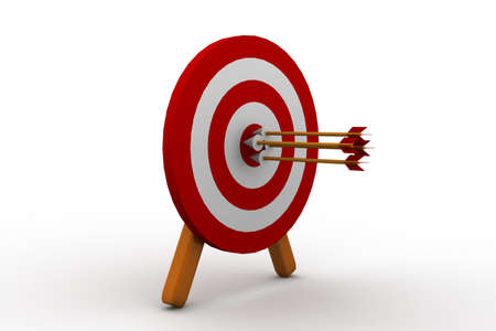 3d illustration of archery target hit with three arrows