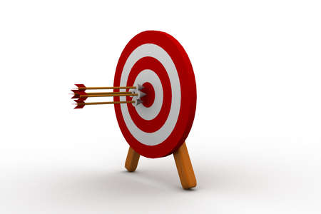intention: 3d illustration of archery target hit with three arrows