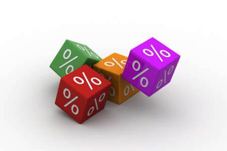 falling cubes: Symbols of percent on falling cubes