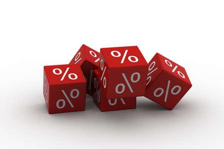 Symboles de pour cent sur les cubes tombant