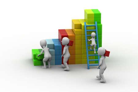 building blocks business: businessman builds his business strategy adding blocks  Stock Photo